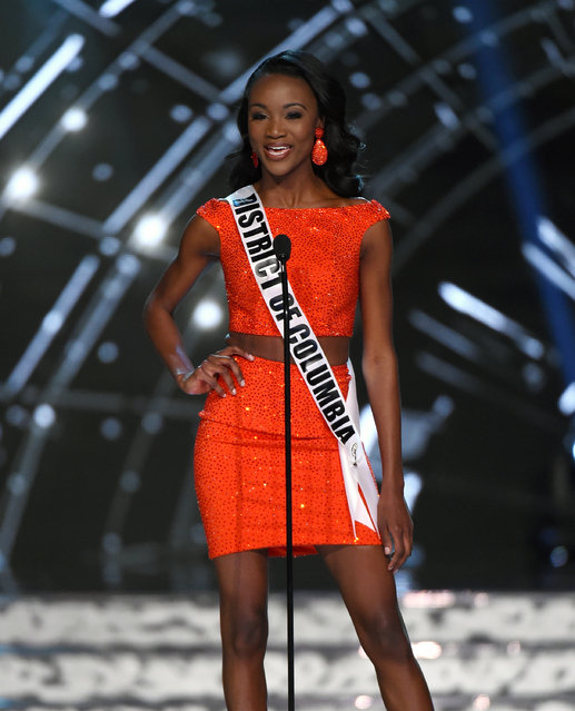 Miss District of Columbia USA Deshauna Barber is introduced during the 2016 Miss USA pageant preliminary competition at T-Mobile Arena on June 1, 2016 in Las Vegas, Nevada. The 2016 Miss USA will be crowned on June 5 in Las Vegas. (Photo by Ethan Miller/Getty Images)