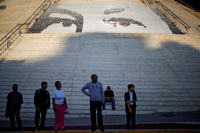 Stairs with tiles depicting the eyes of late Venezuelan President Hugo Chavez are seen in Caracas, Venezuela June 17, 2016. (Photo by Ivan Alvarado/Reuters)