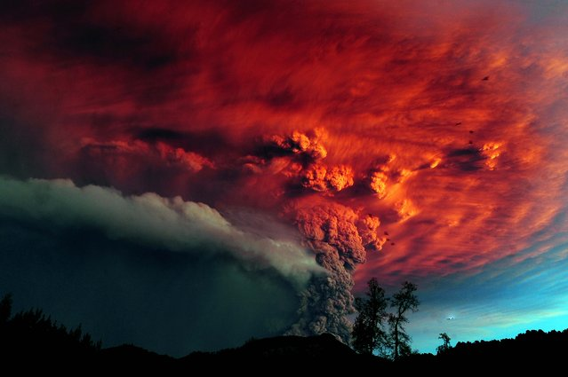 A cloud of ash pours from Puyehue volcano in southern Chile, at sunset on June 5, 2011