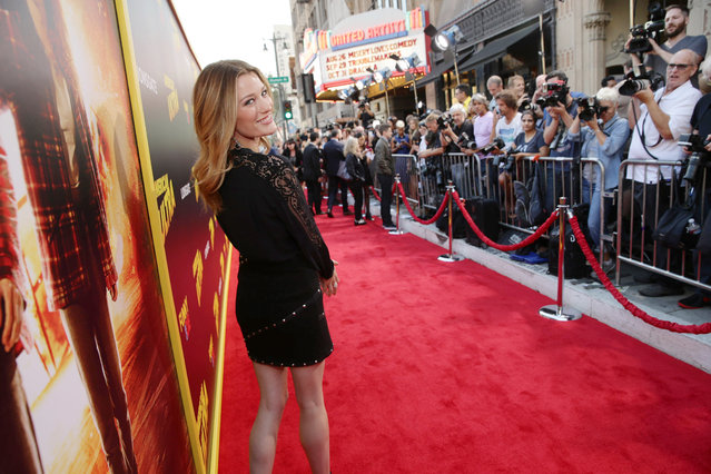 """Ashley Hinshaw seen at The World Premiere of Lionsgate's """"American Ultra"""" at Ace Hotel on Tuesday, August 18, 2015, in Los Angeles, CA. (Photo by Eric Charbonneau/Invision for Lionsgate/AP Images)"""