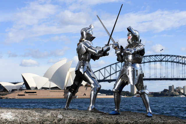 Medieval jousters Luke Binks (L) and Andrew McKinnon pose for a photograph in Sydney, Australia, August 16, 2017 during a photo call for the World Jousting Championships to take place in Sydney on September 23 and 24. (Photo by Dan Himbrechts/Reuters/AAP)