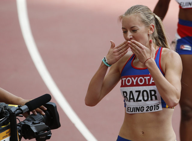 Bianca Razor of Romania blows a kiss to the camera after winning the women's 400 metres heats during the 15th IAAF World Championships at the National Stadium in Beijing, China August 24, 2015. (Photo by David Gray/Reuters)