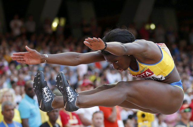 Khaddi Sagnia of Sweden competes in the women's long jump qualifying round during the 15th IAAF World Championships at the National Stadium in Beijing, China, August 27, 2015. (Photo by Phil Noble/Reuters)