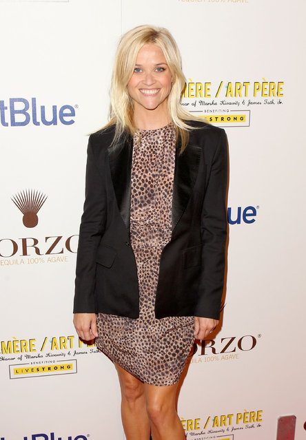 WEST HOLLYWOOD, CA - OCTOBER 06:  Actress Reese Witherspoon arrives at the second annual Art Mere/Art Pere Night presented by CORZO Tequila at Smashbox West Hollywood on October 6, 2011 in West Hollywood, California.  (Photo by Joe Scarnici  for CORZO Tequila)
