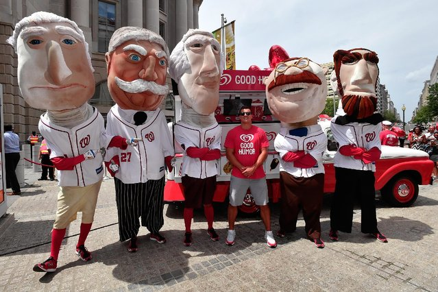 Washington Redskins Linebacker Ryan Kerrigan and the Washington Nationals Racing Presidents help launch the Washingtn D.C. leg of the Good Humor Welcome to Joyhood Tour at the Ronald Reagan Building on July 26, 2016 in Washington, DC. (Photo by Larry French/Getty Images for Good Humor)