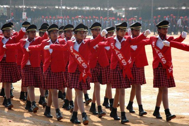 Republic Day parade rehearsals underway at Manekshaw Parade Grounds in Bangalore on January 24, 2014. (Photo by Prokerala News)