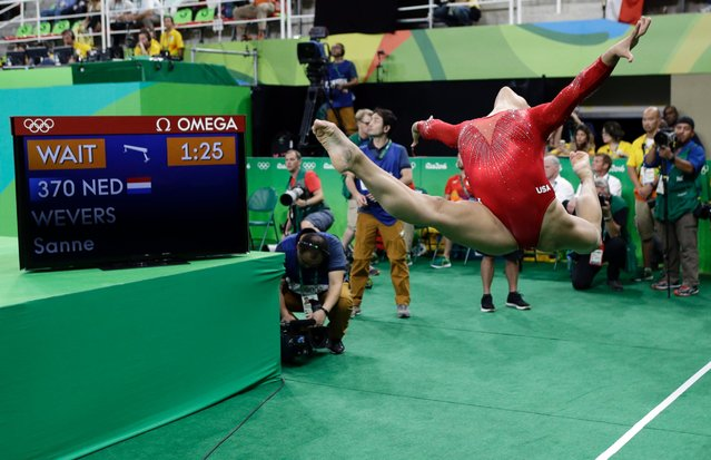 United States' Lauren Hernandez practices before her routine on the balance beam during the artistic gymnastics women's apparatus final at the 2016 Summer Olympics in Rio de Janeiro, Brazil, August 15, 2016. (Photo by Rebecca Blackwell/AP Photo)