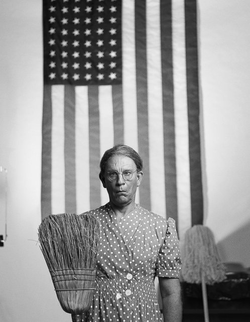 "John Malkovich is seen a re-creation of Gordon Park's American Gothic image taken in 1948. ""This is my way of saying thank you to the masters that created these amazing images"", Sandro Miller says. (Photo by Sandro Miller/Catherine Edelman Gallery)"