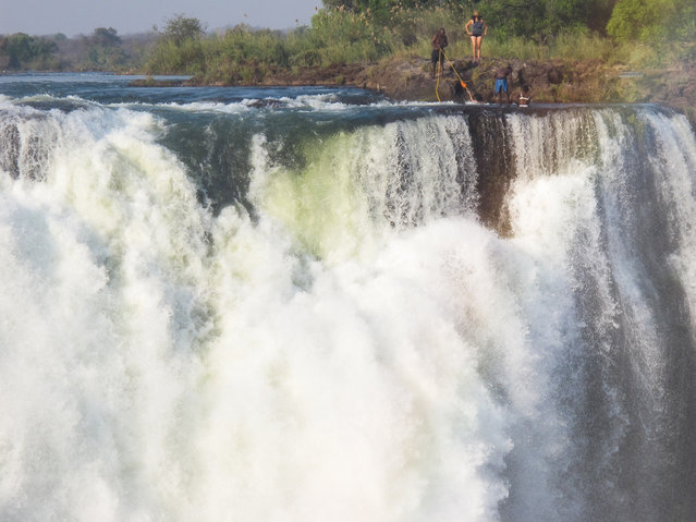 Devil's Pool (Vicotoria Falls) as seen from Zimbabwe. (Photo by Bart Lapers)