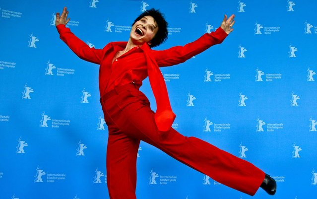 Actress Juliette Binoche jumps at the photo call of the film Camille Claudel 1915 at the 63rd edition of the Berlinale, International Film Festival in Berlin, German, on February 13, 2013. (Photo by Gero Breloer/Associated Press)
