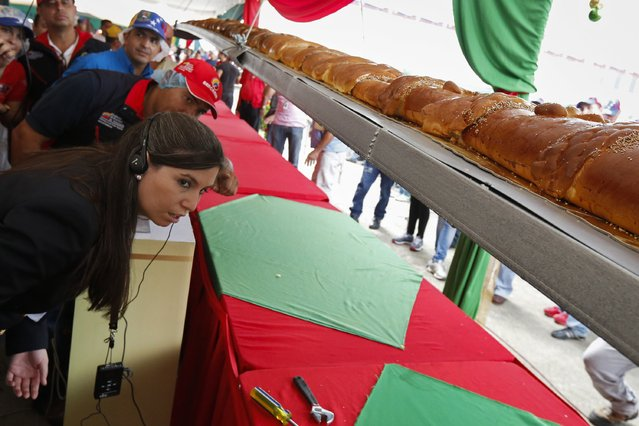 Kim Partrick (L), a representative of the Guinness World Records, examines a giant ham bread, a typical Venezuelan Christmas dish, during an attempt to break the Guinness World Record for the biggest ham bread, in Caracas November 15, 2014. (Photo by Carlos Garcia Rawlins/Reuters)