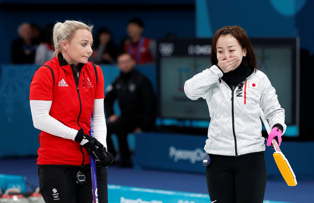 Vice-skip Anna Sloan of Britain watches as skip Satsuki Fujisawa of Japan reacts after winning the match of the PyeongChang Olympic Winter Games at Gangneung Curling Center in Gangneung, South Korea on February 24, 2018. (Photo by John Sibley/Reuters)