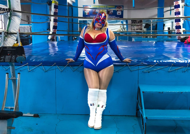 Professional wrestler Cristal (Crystal) poses for a photograph in her trainig place on February 09, 2018 in Mexico city, Mexico. (Photo by Omar Torres/AFP Photo)