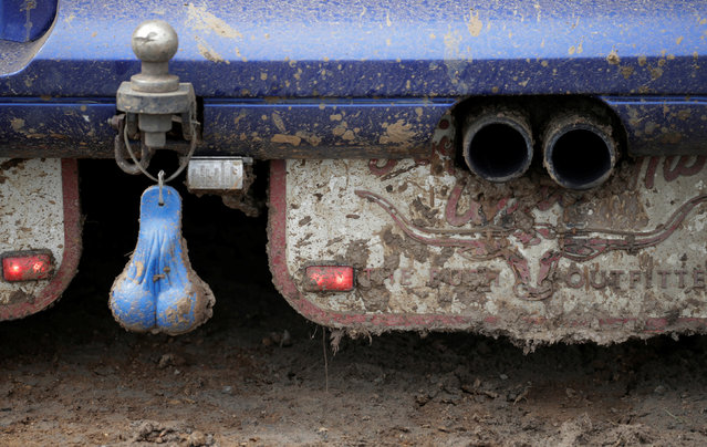 """A pair of """"truck nuts"""", decorative adornments dangling on the tow balls of many Australian bush """"utes"""", are pictured moments before swinging on the back of a ute taking part in a mud derby at the Deni Ute Muster in Deniliquin, New South Wales, September 30, 2016. (Photo by Jason Reed/Reuters)"""