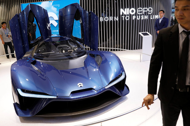 The NIO EP9 is displayed during a media preview at the Auto China 2018 motor show in Beijing, China on April 25, 2018. (Photo by Damir Sagolj/Reuters)