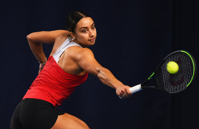 Eden Silva plays a backhand shot during their round robin match against Katy Dunne during Day Four of the Battle of the Brits Premier League of Tennis at the National Tennis Centre on December 23, 2020 in London, England. (Photo by Tom Dulat/Getty Images for LTA)