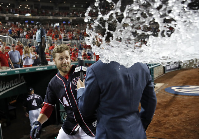Washington Nationals' Mark Reynolds, left, dodges water with the help of MASN's Dan Kolko who took the brunt of it after a baseball game against the Miami Marlins at Nationals Park, Friday, July 6, 2018, in Washington. (Photo by Alex Brandon/AP Photo)