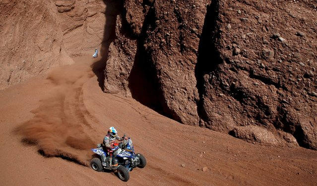 Marcos Patronelli of Argentina rides his Yamaha quad during the eighth stage of the Dakar Rally 2016 near Cafayate, Argentina, January 11, 2016. (Photo by Marcos Brindicci/Reuters)