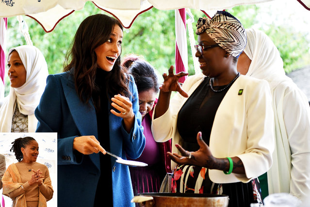 Meghan, Duchess of Sussex helps to prepare food at the launch of a cookbook with recipes from a group of women affected by the Grenfell Tower fire at Kensington Palace in London on September 20, 2018. (Photo by Ben Stansall/AFP Photo)