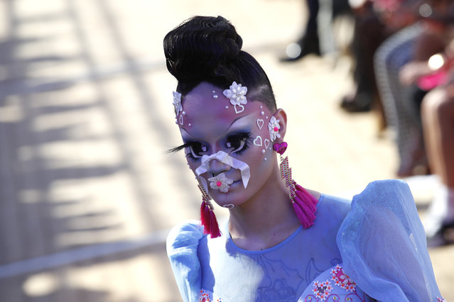 A model wears a creation for Manish Arora's Spring/Summer 2019 ready-to-wear fashion collection presented in Paris, Thursday, September 27, 2018. (Photo by Christophe Ena/AP Photo)