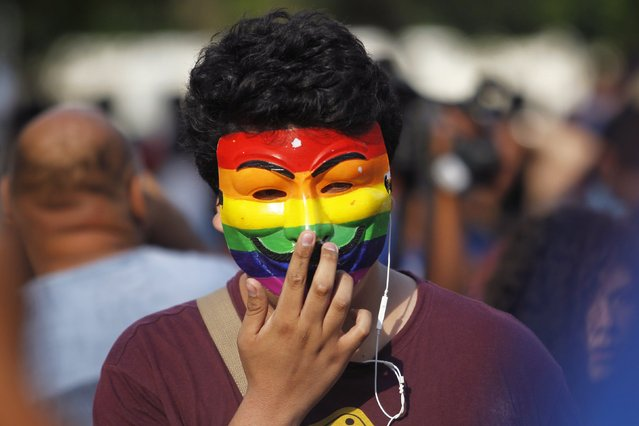 A member of gay and lesbian organizations puts on a mask during a march in support of the Civil Union project law in Lima, March 7, 2015.  REUTERS/Enrique Castro-Mendivil (PERU - Tags: POLITICS SOCIETY)
