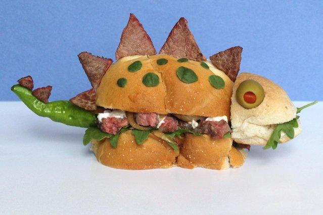 """Kasia Haupt's sandwich monsters: Steak-o-Saurus"". (Photo by Kasia Haupt/Caters News)"