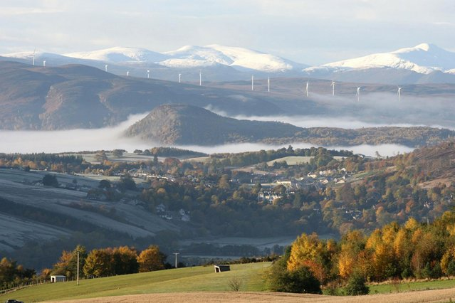 Snow and mist above Strathpeffer village in the Highlands. (Photo by Gordon Jack/Scotimage.com)