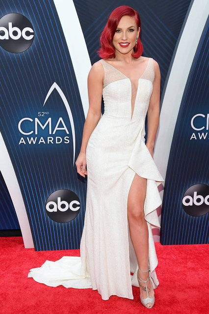Ballroom dancer Sharna Burgess attends the 52nd annual CMA Awards at the Bridgestone Arena on November 14, 2018 in Nashville, Tennessee. (Photo by Jason Kempin/Getty Images)