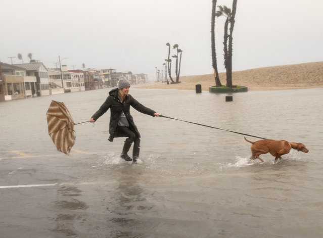 Laura Bersuch walks her dog Lola through floodwater near the Seal Beach Pier during a storm in Seal Beach, Calif., Sunday, January 22, 2017. (Photo by Ana Venegas/The Orange County Register via AP Photo)