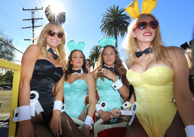 Playmate Bunnies celebrate on the Playboy 60th Anniversary bus at Playboy's 60th Anniversary special event on January 16, 2014 in Los Angeles, California.  (Photo by Rachel Murray/Getty Images for Playboy)