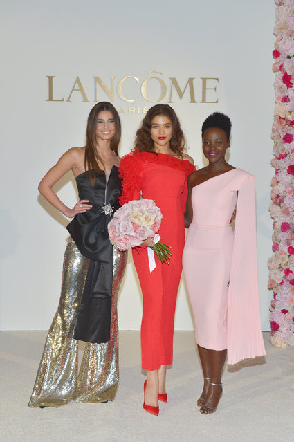 Taylor Hill, Zendaya and Lupita Nyong'o attend Lancôme's announcement of Zendaya as their New Global Brand Ambassadress at Four Seasons Los Angeles at Beverly Hills on February 21, 2019 in Los Angeles, California. (Photo by Donato Sardella/Getty Images for Lancôme )