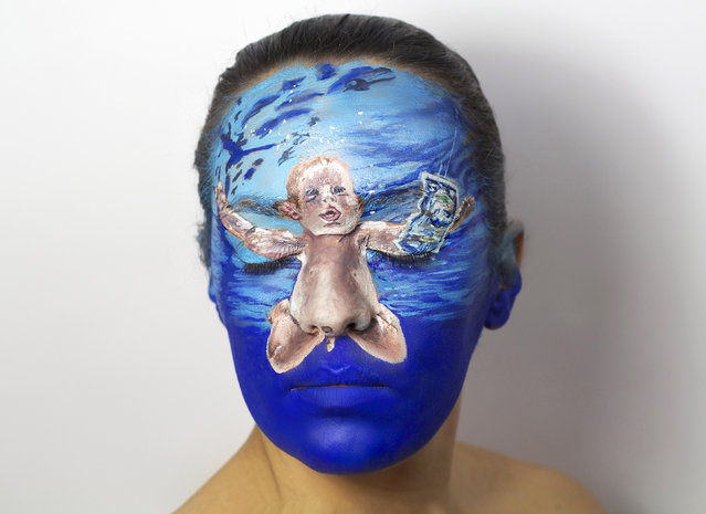 "Nirvana album. She was overwhelmed with responses and as a result painted 40 different album covers on her face, including Nirvana's ""Nevermind"", King Crimson's ""The Court of the Crimson King"" and ""Melt"" by Peter Gabriel. (Photo by Natalie Sharp/Caters News)"
