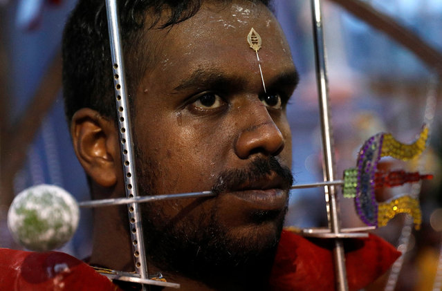 A devotee with a trident pierced through his mouth carries a kavadi during the Hindu festival of Thaipusam in Singapore February 9, 2017. (Photo by Edgar Su/Reuters)