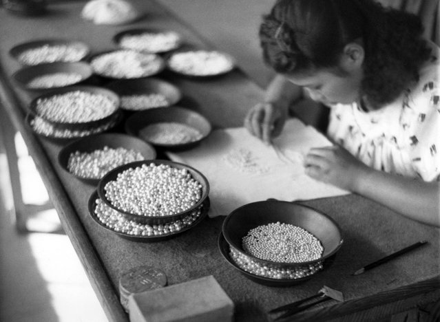 A Japanese girl carefully sorts cultured pearls raised on Kokichi Mikimoto's pearl farm near the tip of Japan's Ise peninsula on October 12, 1949. They are sorted according to color and size as well as shape. (Photo by AP Photo via The Atlantic)