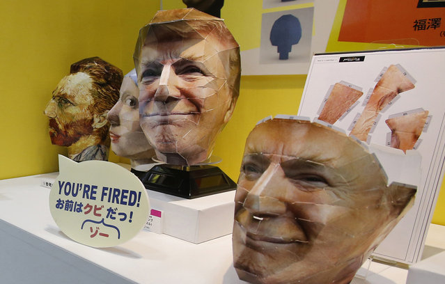 A 3D face puzzle depicting U.S. President Donald Trump made by Japan's toy maker Tenyo is showcased at the International Tokyo toy show in Tokyo, June 2, 2017. (Photo by Shuji Kajiyama/AP Photo)