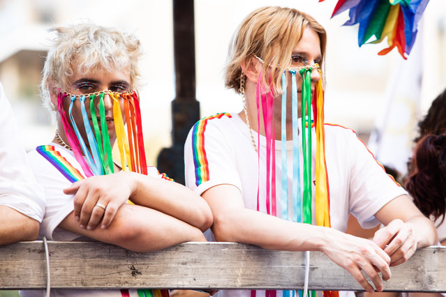 Italian vocal band Sem and Stenn is seen at the Gay Pride 2019 on June 29, 2019 in Milan, Italy. (Photo by Rosdiana Ciaravolo/Getty Images)