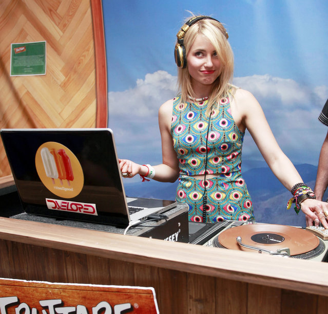Actress Dianna Agron joined DJ duo D.Veloped in the booth to spin for festival goers at the Fruttare Hangout at Coachella on April 11, 2014 in Indio, California. Fruttare Fruit Bars are now available at grocery stores nationwide. (Photo by Todd Oren/Getty Images for Fruttare)