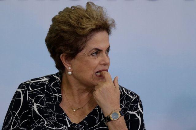 Brazil's President Dilma Rousseff attends a signing ceremony for new housing units of the Minha Casa Minha Vida at the Planalto Palace in Brasilia, Brazil May 6, 2016. (Photo by Ueslei Marcelino/Reuters)