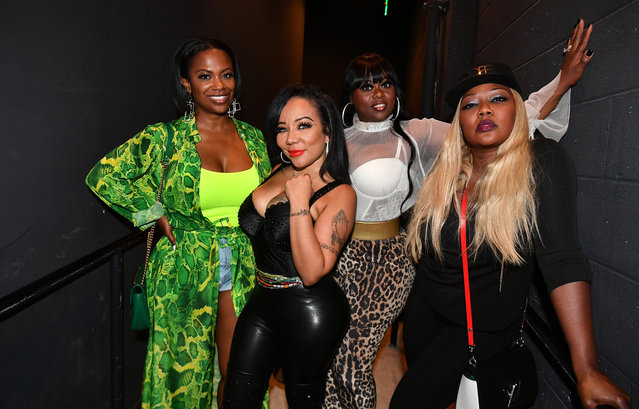 "(L-R) Kandi Burruss, Tameka ""Tiny"" Harris, Tamika Scott, and LaTocha Scott of Xscape backstage during Majic 107.5 After Dark at City Winery on September 03, 2019 in Atlanta, Georgia. (Photo by Paras Griffin/Getty Images)"