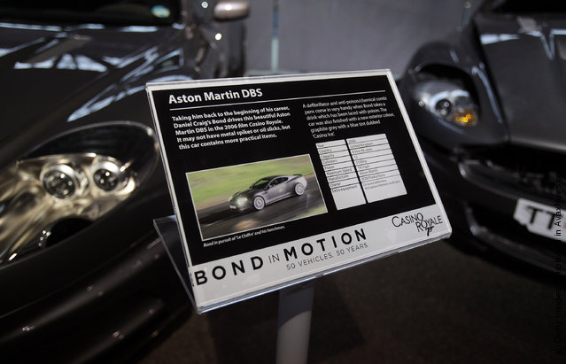 A Aston Martin DBS that was used in the James Bond film Casino Royale is displayed at the Bond In Motion exhibition