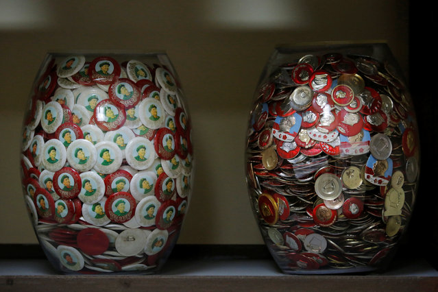 Jars containing badges of late Chinese Chairman Mao Zedong are displayed at Jianchuan Museum Cluster in Anren, Sichuan Province, China, May 13, 2016. (Photo by Kim Kyung-Hoon/Reuters)