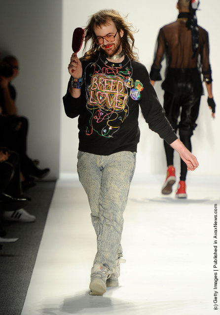 A model walks the runway at the Popluxe Fall 2012 fashion show during Mercedes-Benz Fashion Week