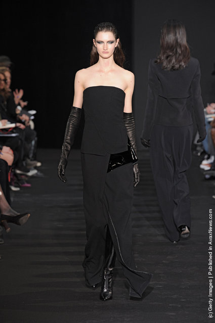A model walks the runway at the Costume National Autumn Winter 2012 fashion show during Paris Fashion Week