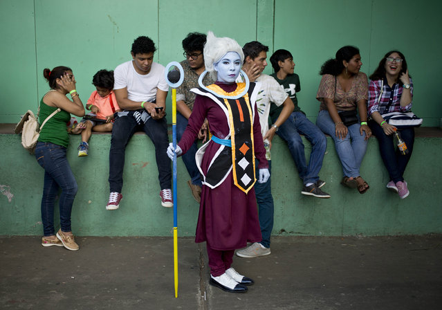 Cosplayer Gabriela Garcia, who portrays Dragon Ball Super character Whis, poses for a portrait during the 4th edition of the MiniCon Anime convention, at the School of Dance, in Managua, Nicaragua, Sunday, July, 26, 2015. (Photo by Esteban Felix/AP Photo)