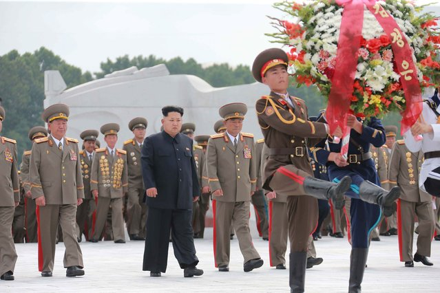 North Korean leader Kim Jong Un visits the Fatherland Liberation War Martyrs Cemetery to pay tribute to the fallen fighters of the Korean People's Army, during commemorations to mark the 62nd anniversary of the end of the 1950-53 Korean War in this undated photo released by North Korea's Korean Central News Agency (KCNA) in Pyongyang July 28, 2015. (Photo by Reuters/KCNA)