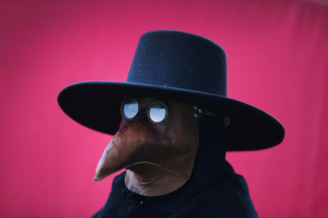 A man dresses as a plague doctor at the Bannockburn Live event on June 28, 2014 in Stirling, Scotland. The 700th anniversary of the historic battle that saw the outnumbered Scots conquer the English led by Edward II in the First War of Scottish Independence. (Photo by Peter Macdiarmid/Getty Images)