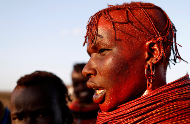 A Turkana tribeswoman stands in a village near Loiyangalani, Kenya August 4, 2017. (Photo by Goran Tomasevic/Reuters)