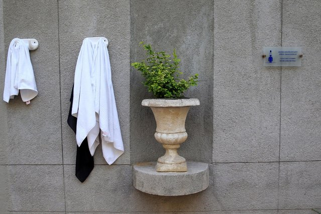 Towels hang on a wall at the Lukacs Bath in Budapest, Hungary July 6, 2016. (Photo by Bernadett Szabo/Reuters)