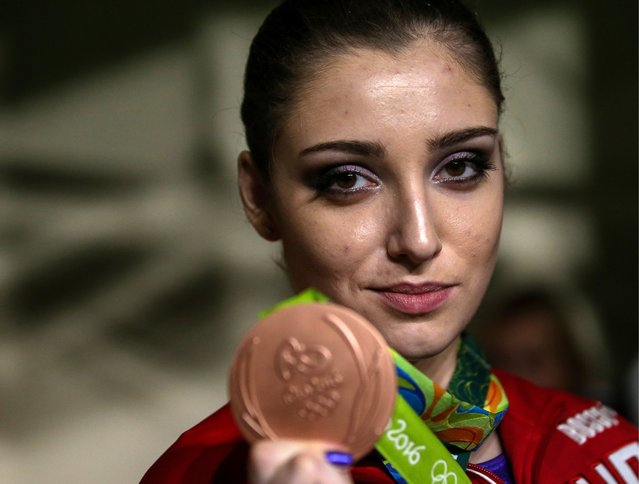 Bronze medalist, Russia's Aliya Mustafina at an award ceremony for the artistic gymnastics women's individual all-around final event at the 2016 Summer Olympic Games, August 11, 2016. (Photo by Valery Sharifulin/TASS/Newscom)