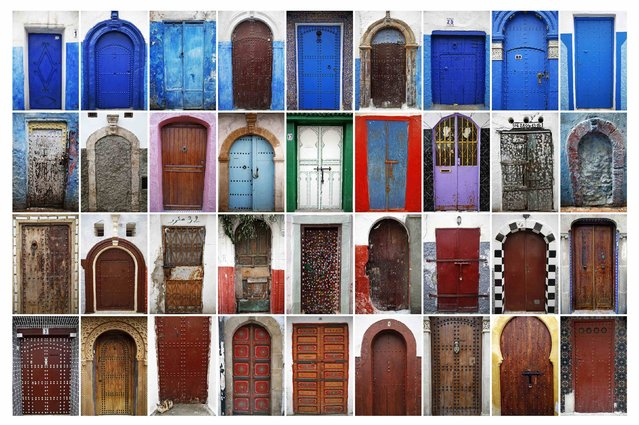 "A combination photo shows some of the colourful doors seen in Rabat's Medina and Kasbah of the Udayas, September 2014. UNESCO made Rabat a World Heritage Site two years ago and media and tour operators call it a ""must-see destination"". (Photo by Damir Sagolj/Reuters)"